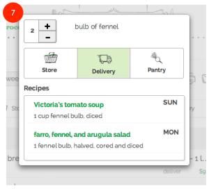 gatherdtable grocery list - item edit poup