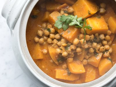thai red curry with butternut squash and chickpeas