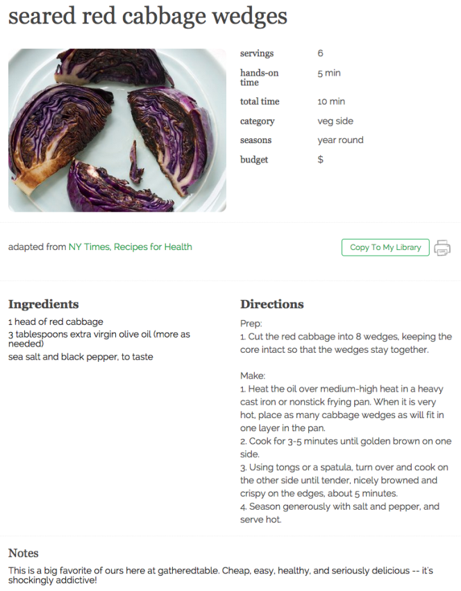 seared red cabbage wedges