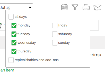 filter your gatheredtable grocery list by day of the week
