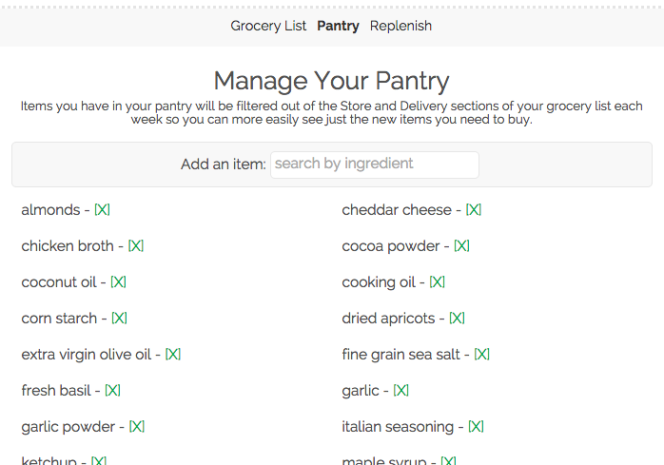pantry tracking on gatheretable grocery list