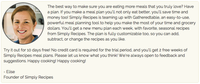 quote from elise bauer about gatheredtable meal planner