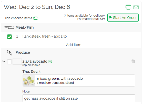 add a note to any grocery list item on gatheredtable.com