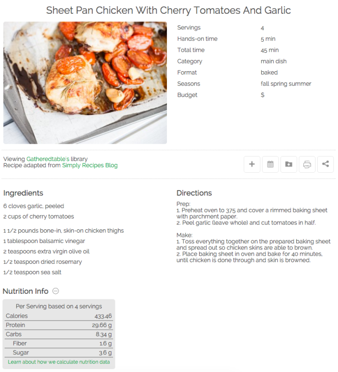 recipes now show nutritional info on gatheredtable