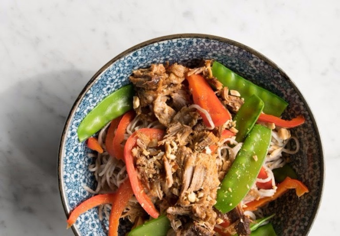 Slow-Cooker Asian Pork With Veggies And Soba Noodles