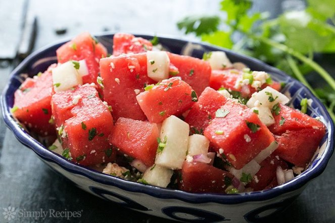 Watermelon Salad with Cotija, Jicama and Lime