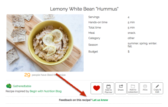 send us feedback on gatheredtable recipes