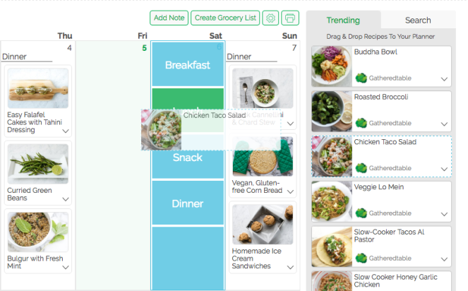 drag trending recipes into gatheredtable planner
