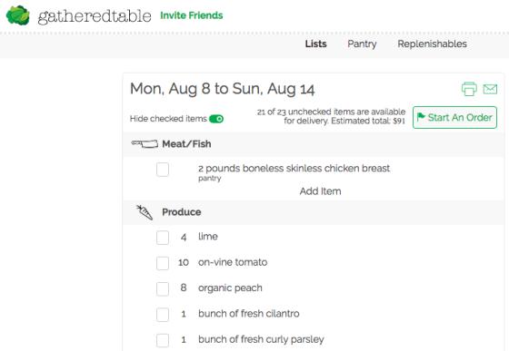 gatheredtable grocery list