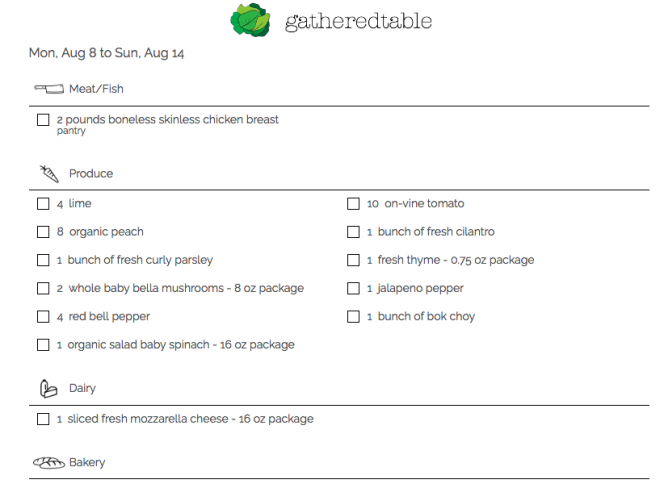 printed gatheredtable grocery list